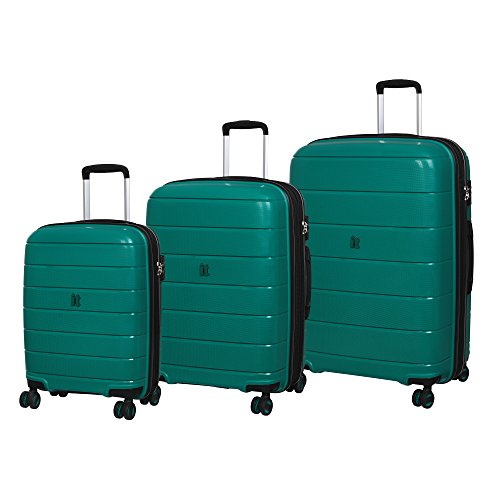it luggage 3 Piece Set of Asteroid 8 Wheel Hard Shell Expander Suitacses Suitcase, 75 cm, 325 liters,Pine Green