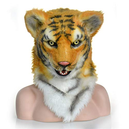 ZhengELE Animal Cosplay Sombrero Divertido Tigre de Cabeza de Animal con Boca Mover Simulación Furry Animal Headgear Regalo de novedades para Cosplay Party Halloween Carnaval