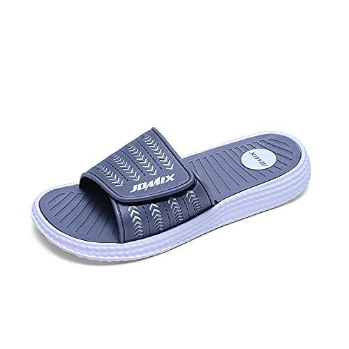 Jomix Chanclas de velcro para hombre, de verano, para playa, casa, piscina, gimnasio, de goma antideslizante Gris Size: 43 EU