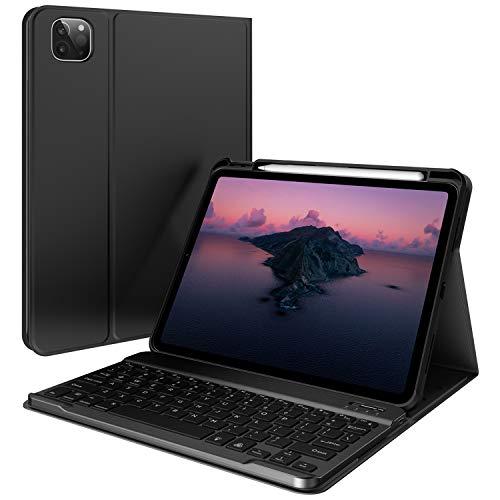 Accezz - Custodia con tastiera Bluetooth per iPad Air (2020) / Pro 11 (2018/2020), colore: Nero
