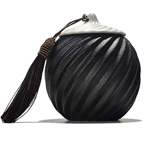 XWX Ashes Cremation Urn And Commemorative Tassel Black Ceramic Cremation Urn Commemorating Family Animals (Size : A)
