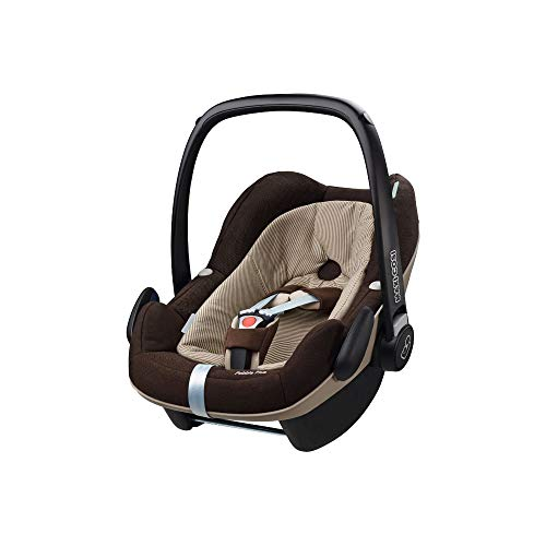 Maxi-Cosi Pebble Plus Babyschale, sicherer Gruppe 0+ i-Size Kindersitz (0-13 kg), nutzbar ab der Geburt bis ca. 12 Monate, passend für FamilyFix One Basisstation, earth brown