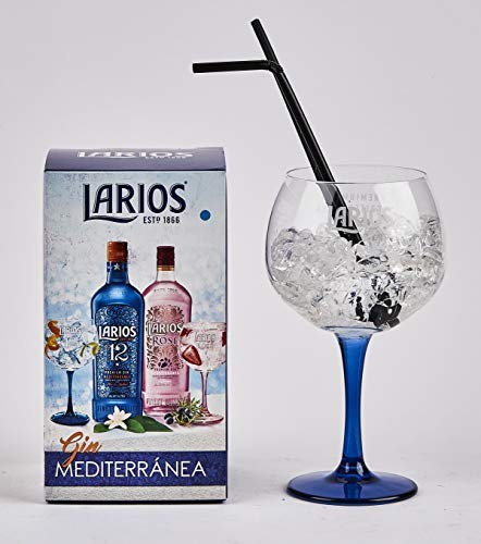 Larios Gin Mediterránea Copa Gin Glass Blue Stem 650 ml - Gift Boxed Gin & Tonic Cocktail Glass