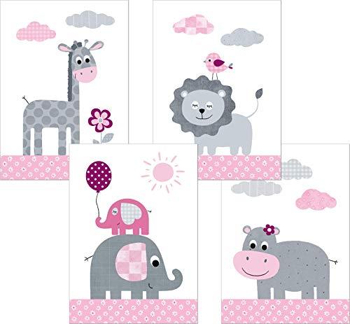 LALELU-Prints | A4 Bilder Kinderzimmer Deko Mädchen Junge | Zauberhafte Dschungel-Tiere rosa | Poster Babyzimmer | 4er Set Kinderbilder (DIN A4 ohne Rahmen)
