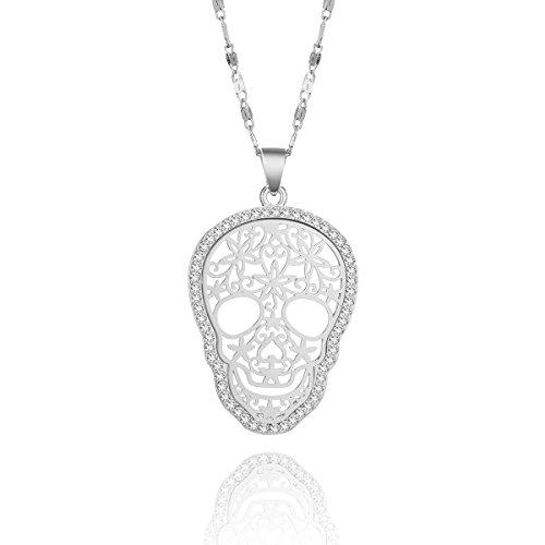 PengJin Collar de Gargantilla de Moda con Calavera Deslumbrante CZ Collar Colgante de Cristal y Cadena de Plata para Las Mujeres (Plateado)