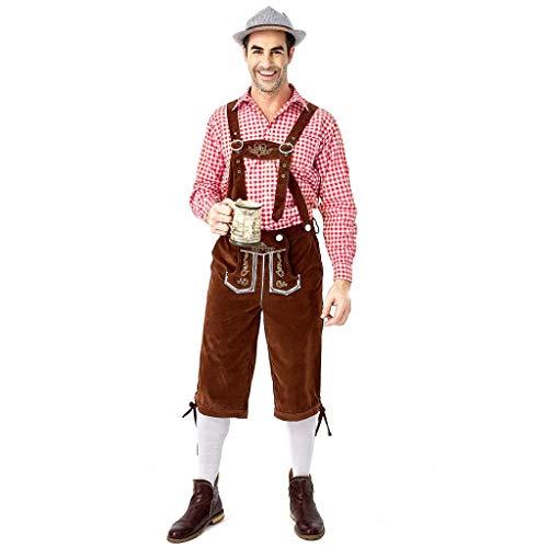 Feytuo Herren Trachten Lederhose Kurz+ Träger,Trachtenhose Oktoberfest in vielen Farben Freizeithose Festliches Kostüm