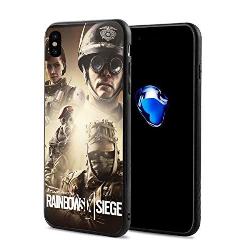 Leonsense Game Theme Rainbow Six Siege Elite Action Figures Wallpaper Funda de teléfono Negra Compatible con iPhone 12/12Pro MAX 11 11 Pro MAX XR XS SE 2020/7/8 6/6s Plus Samsung Huawei LG Caso