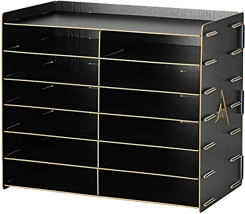 AdirOffice Wood Paper Storage Organizer - Construction Paper Storage - Vertical File Mail Sorter - A Stylish Look for Home, Office, Classroom and More - Black (12 Compartment)