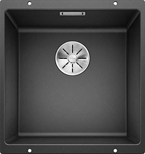 BLANCO SUBLINE 400-U - Granitspüle für die Küche für 50 cm breite Unterschränke - Unterbau - aus SILGRANIT - Grau - 523422