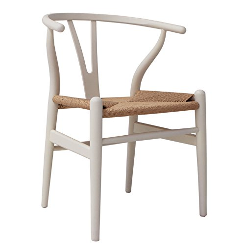 Oui Home - Silla Ch24 Wishbone Blanca Asiento Natural