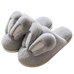 Hopelong Women Slippers, Cute Rabbit Ears Plush House Slippers for Women,Non-Slip Fluffy Slippers Indoor Warm Plush Animal Slippers