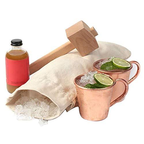Sacchetto di ghiaccio tritato a mano, sacchetto di ghiaccio fatto a mano in tela e mazzetto di ghiaccio in legno di faggio massiccio naturale, tritaghiaccio per tritare rompere e martellare cubetti di