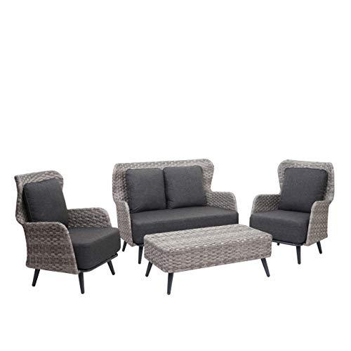 Mendler Poly-Rattan Gartengarnitur HWC-G53, Lounge-Set Sofa Sitzgruppe, Spun Poly - grau, Polster dunkelgrau