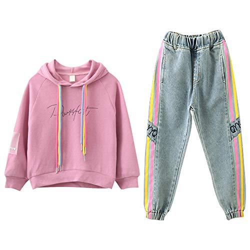 SXSHUN Kds Girls Clothes Set girls Hoodie Jeans 2pcs Spring Set Casual Style Long Sleeve Soft Pure Color Girls Sweatshirt with Simple Loose Girls Jeans for 3-14 Years Old