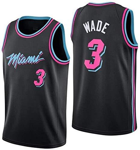 Camiseta de Baloncesto para Hombre, 3 Dwyane Wade, NBA Miami Heat, Ropa Deportiva, Camiseta de Baloncesto Unisex sin Mangas Bordada de Baloncesto Swingman Top 100% poliéster, blackpin