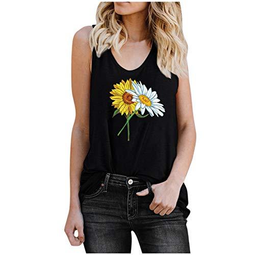 Kpasati Damen Sommer T-Shirt Sonnenblumenmuster Druck Schwarz Weste Stil Top Casual All-Match Sexy Kurzarm XXL