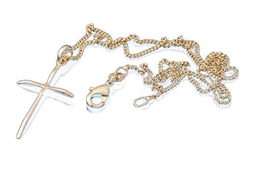 Set met hanger, katholisch kruis, echt goud, met ketting 45 cm en kistje voor dames en adolescenten