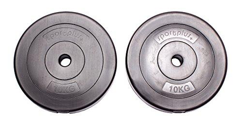 bilanciere bodybuilding Sportplus Pesi da 20 kg - Set di 2 x Piastre da 10 kg in Cemento rivestite in Vinile / Dischi da Bilanciere per Body Building e Sollevamento Pesi
