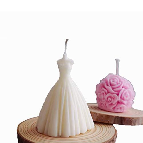 sdfpj 2pcs Boda 3D Hecho a Mano Vestido de la Vela del jabón de Silicona fabricación de moldes DIY del Coche de Perfume de Aromatherapy Pastel de Bodas Decoración