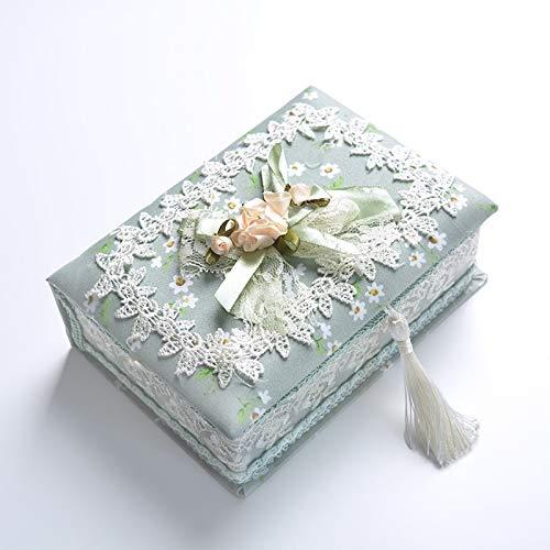 1 caja de almacenamiento de joyería pastoral para pendientes, caja de almacenamiento para joyería y caja de regalo (C)