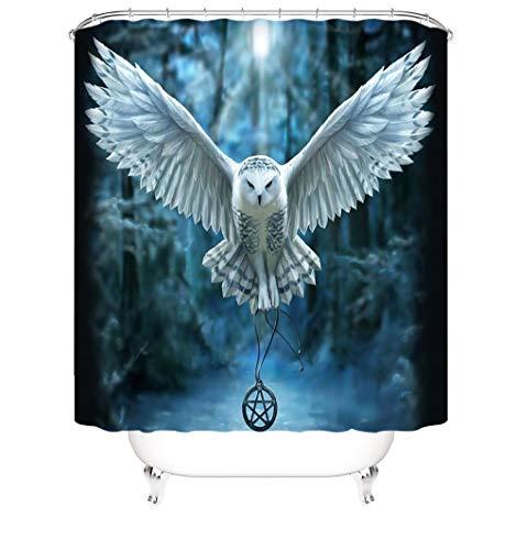 Waschbare Duschvorhänge Eule Polyester Duschvorhang Antischimmel Wasserabweisend Für Badewanne Dusche Mit Duschvorhang Haken 120 X 180 cm