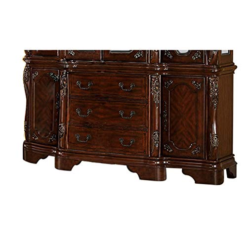 Furniture of America Fellin Multi-Storage Wood Buffet in Antique Cherry