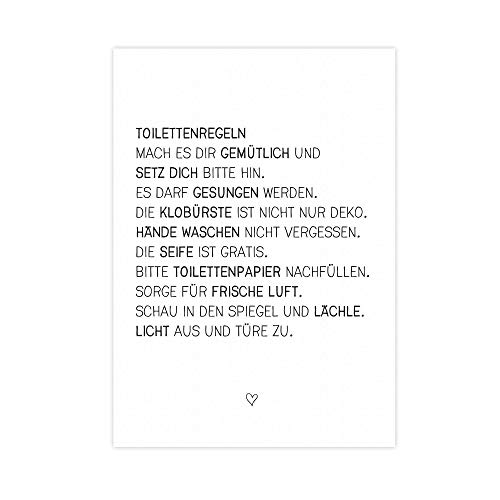 Wunderpixel® Kunstdruck Toilettenregeln - auf wunderbarem Hahnemühle Papier DIN A4 -ohne Rahmen- schwarz-weißer FineArt-Print Poster Wand-Dekoration Büro Wohnung/Geschenk-Idee - witzige Klo-Ordnung