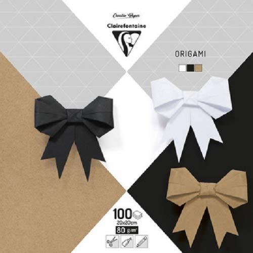 Clairefontaine 95006C Packung mit 100 Blatt Origamipapier einfarbig, 20 x 20cm, 80g, 1 Pack, schwarz, Weiß & Kraft
