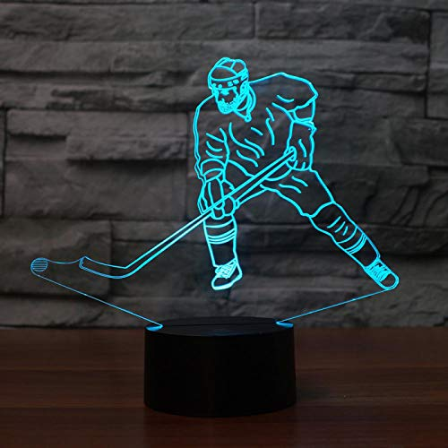 KangYD LED Ice Hockey Man Modelling 3D Night Light, LED Illusion Lamp, E - Alarm Clock Base(7 Color), Gift for Boy, Bedside Lamp, Table Lamp, Art Night Lamp, Modern Lamp