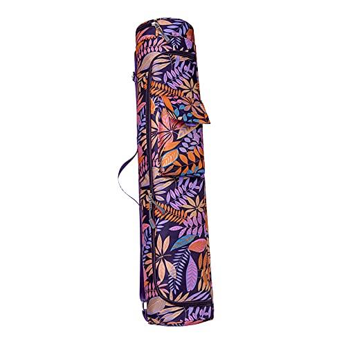 SunniMix Fitness Yoga Mat Portador de la Caja w/Bolsillos de Almacenamiento Full-Zip Llevar Ejercicio Tote Ligero Impermeable - Estilo púrpura B