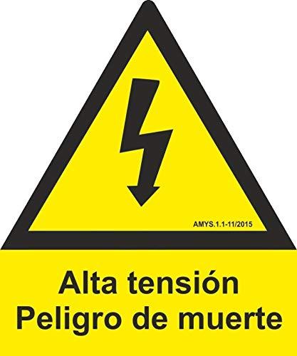 MovilCom® - ADHESIVO PENTAGONO ALTA TENSION 150mm LADO homologado nueva legislación (ref.RD65003)