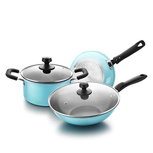 EOVL Utensilios de cocina de 3 piezas, utensilios de cocina de aluminio, utensilios de cocina antiadherentes de fondo plano, mango conveniente, adecuado para diversas fuentes de calor Sarten