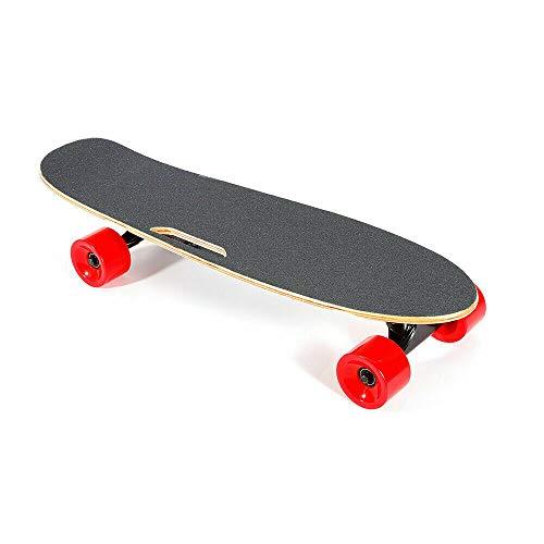 Wangkangyi, skateboard elettrico da 20 km/h, con copertura in acero duro + ruota in PU, colore rosso, con telecomando, ad alta velocità, per adulti e ragazzi