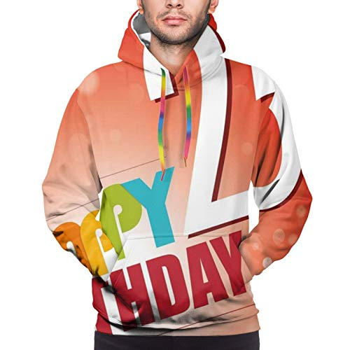 FULIYA Men's Hoodies Sweatshirts,Abstract Background with Colorful Letters Artistic Happy Ceremony,3X-Large
