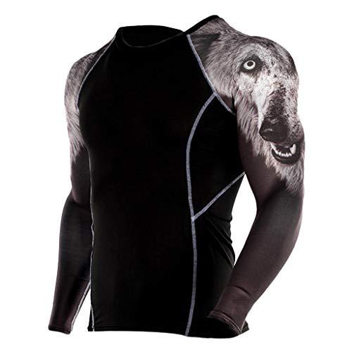 FRAUIT heren lange mouwen fitness T-shirt print functioneel shirts yoga sneldrogende sport lange mouwen yoga compressieshirt stretch zacht ademend comfortabele kleding blouse tops