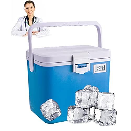 Fresco In-sulin-a Refrigerador Caja, Mini Refrigeración Transporte Caja, Triple Aislamiento, Tira Sellado Silicona, 360° Temperatura Constante, No Se Necesita Electricidad, Bolsa Hielo,Azul