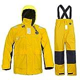 Sailing Jacket with Bib Pants Overall Waterproof for Men Women Fishing Rain Suits Coastal(Gold, Medium)