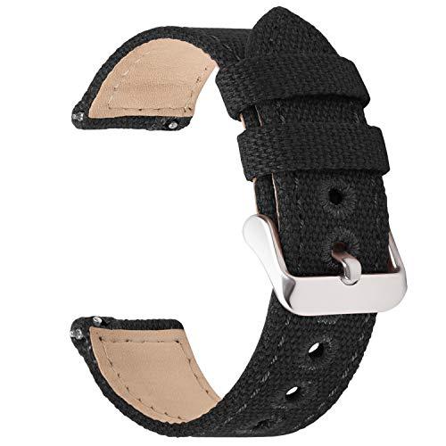Fullmosa Armband Kompatibel mit Gear S3 Frontier, 22mm Schwarz NATO Lederarmband, Uhrenarmband für Samsung Gear S3 Frontier SM-R760/Samsung Gear S3 Classic