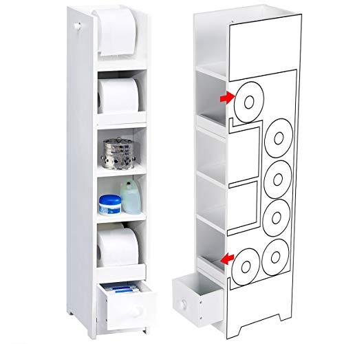 genialo WC-Papier-Regal, WC-Papier Regal Ablage Badregal für Toilettenpapier, Badezimmer Toilette, MDF, 16,5 x 25 x 91 cm, weiß