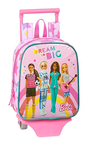 Safta 612010280 Mochila guardería ruedas, carro, trolley Barbie