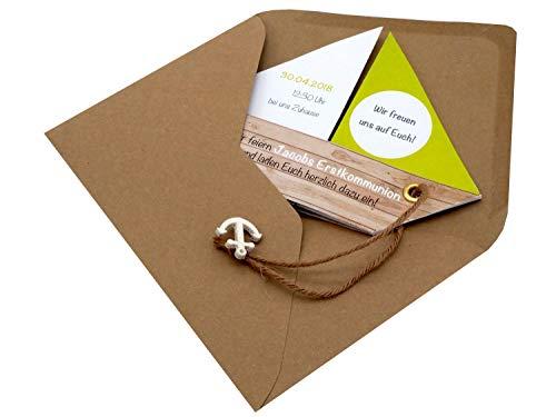 Einladungskarte Kommunion Konfirmation Taufe Boot Schiff Grün Einladung Umschlag Braun Weiß, Farbe:Braun