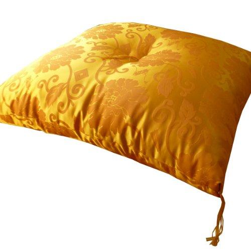 【日本製祝寿座布団長寿御祝い】黄色座布団65×70cm緞子判法要座布団米寿傘寿卒寿ISI0018T