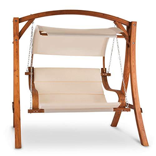 blumfeldt Maui Gartenschaukel - Hängesessel, Hollywoodschaukel, 110 cm Sitzfläche, praktisches Sonnendach, robuste Edelstahl-Ketten, witterungsbeständig, bis 250 kg belastbar, Creme