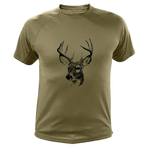 Jagd T Shirt, Hirsch Kanada, Lustiges Geschenk für Jäger (301, Grun, L)