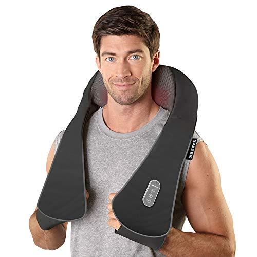 Salter Massaggiatore per Collo Spalle e Cervicale Shiatsu con Funzione calore, 3 velocità regolabili, Tecnologia inversione delle testine, Maniglie ergonomiche