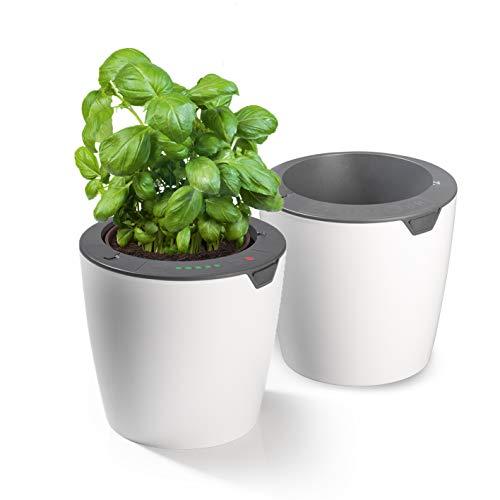 LAZY LEAF Blumentopf mit Bewässerungssystem - Ø 13 cm | 10 Bewässerungsstufen für die perfekte Wassermenge, Mit Tageslichtsensor (2 Töpfe)