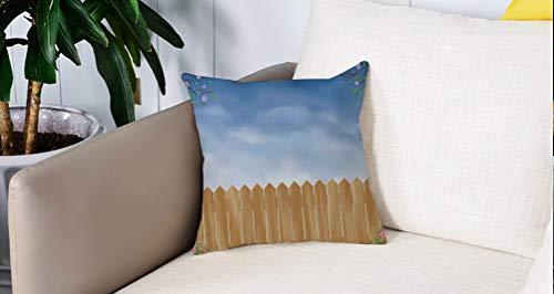 Square Soft and Cozy Pillow Covers,Decoración de la granja, tablón de madera para jardín con la temporada de primavera remolinada ,Funda para Decorar Sofá Dormitorio Decoración Funda de almohada.