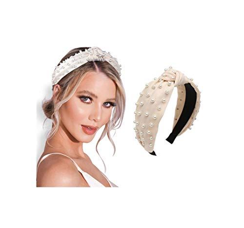 Pearl headband for Women Knot Cream…