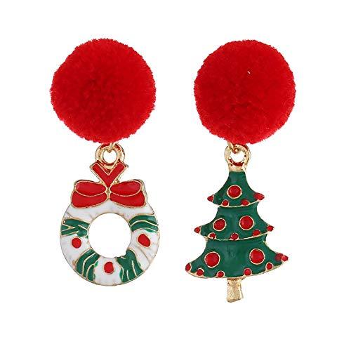 Wicemoon 1 Par Pendientes Stud árbol de Navidad Bola de Pelo Pendientes para Mujeres 4.2*1.7cm