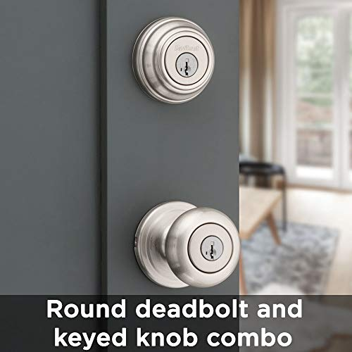 Kwikset Juno Keyed Entry Door Knob and Single Cylinder Deadbolt Combo Pack with Microban Antimicrobial Protection featuring SmartKey Security in Satin Nickel